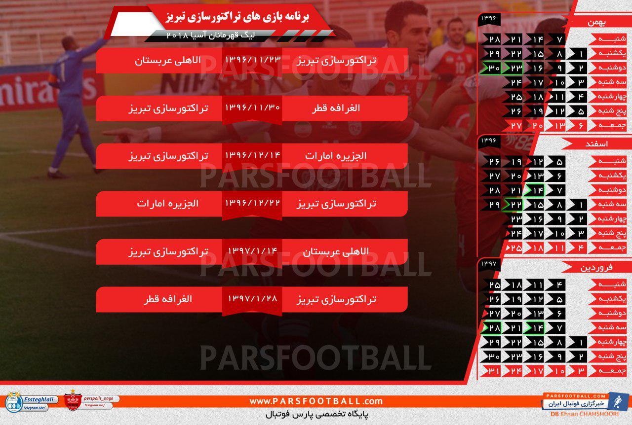 برنامه بازی های تراکتورسازی در لیگ قهرمانان آسیا