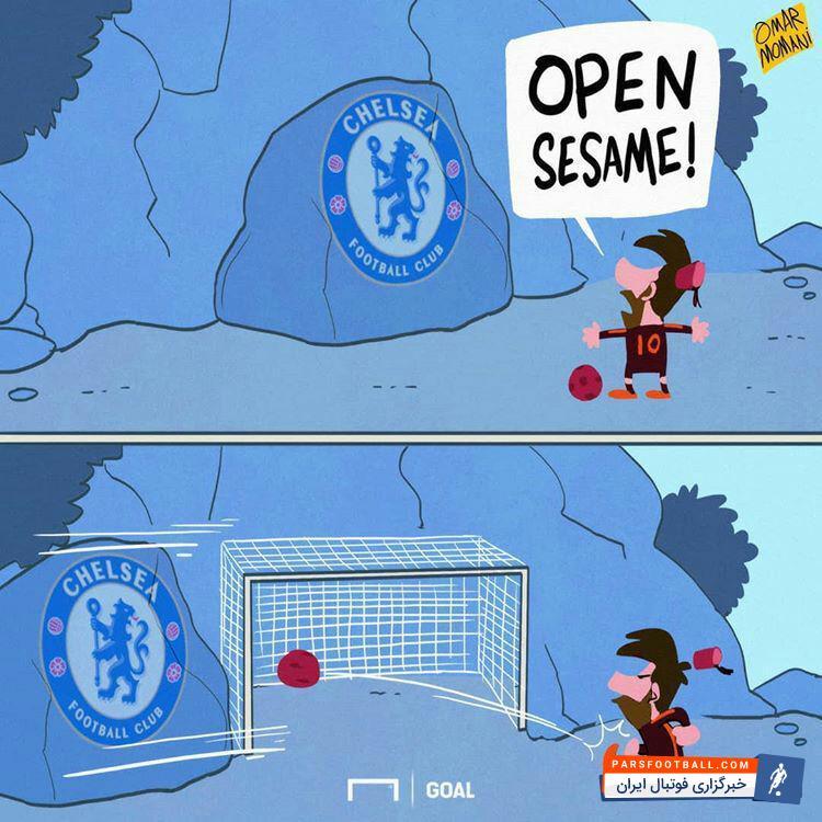 عکس ؛ کاریکاتور ؛ ستاره بارسلونا بالاخره طلسم را شکست !