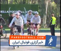 تمرین دوچرخه سواری و کار با توپ بازیکنان لیورپول