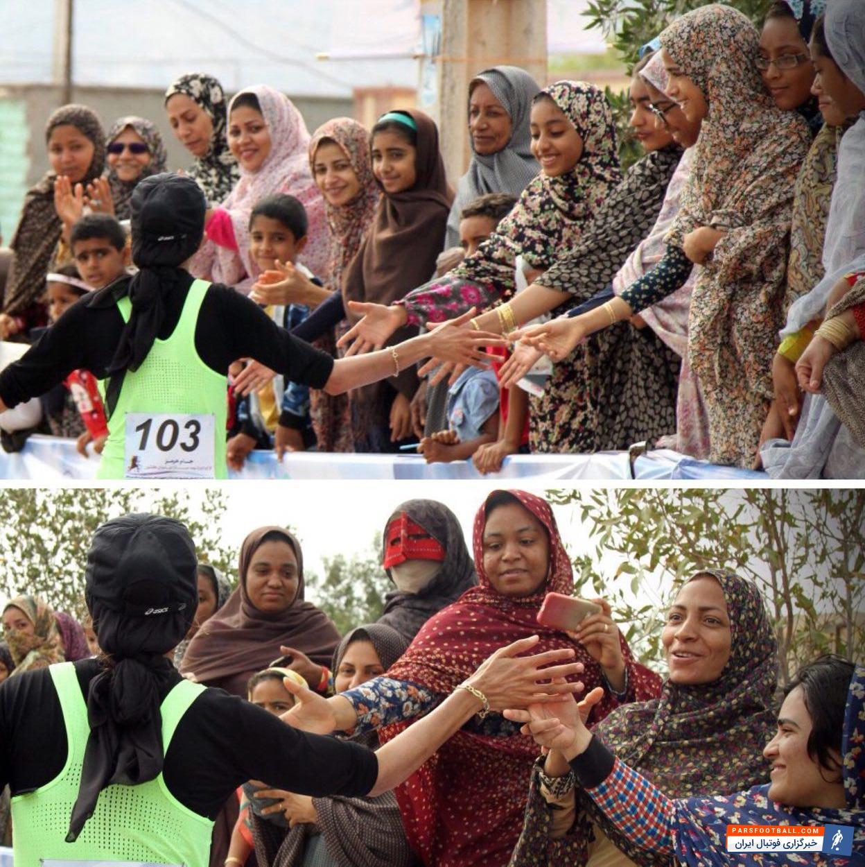 عکس ؛ استقبال بی نظیر دختران بندری از بانوی قهرمان ورزش ایران