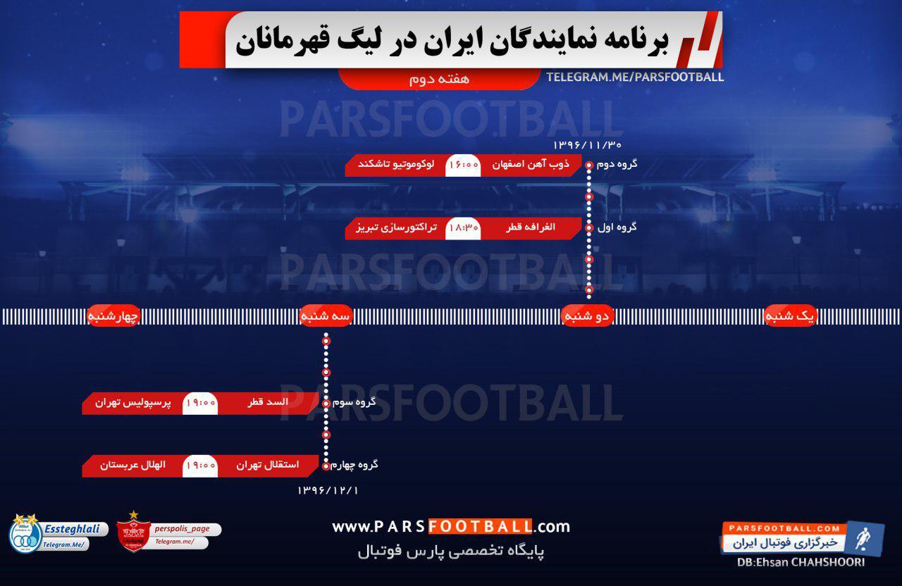 اینفوگرافی ؛ چهار بازی حساس برای چهار نماینده ایران در لیگ قهرمانان آسیا!
