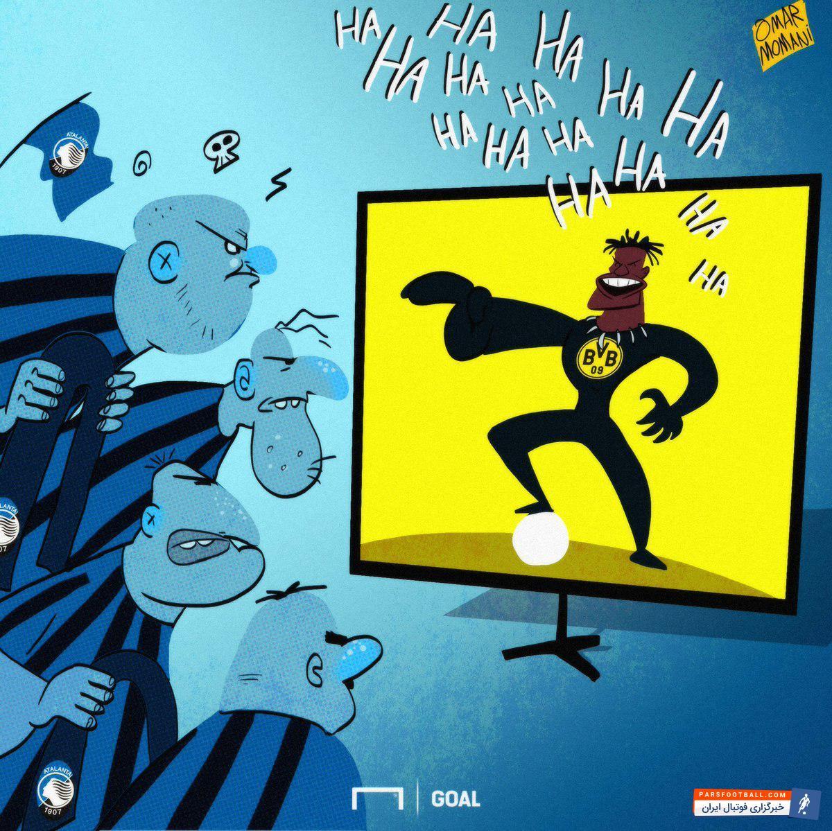 عکس ؛ کاریکاتور ؛ ستاره دورتموند حرکت زشت هواداران آتالانتا را بی پاسخ نگذاشت !