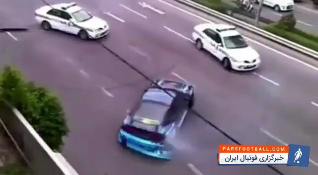 راننده مجرم ؛ کلیپی از تعقیب گریز پلیس با یک راننده ی پررو ؛ پارس فوتبال