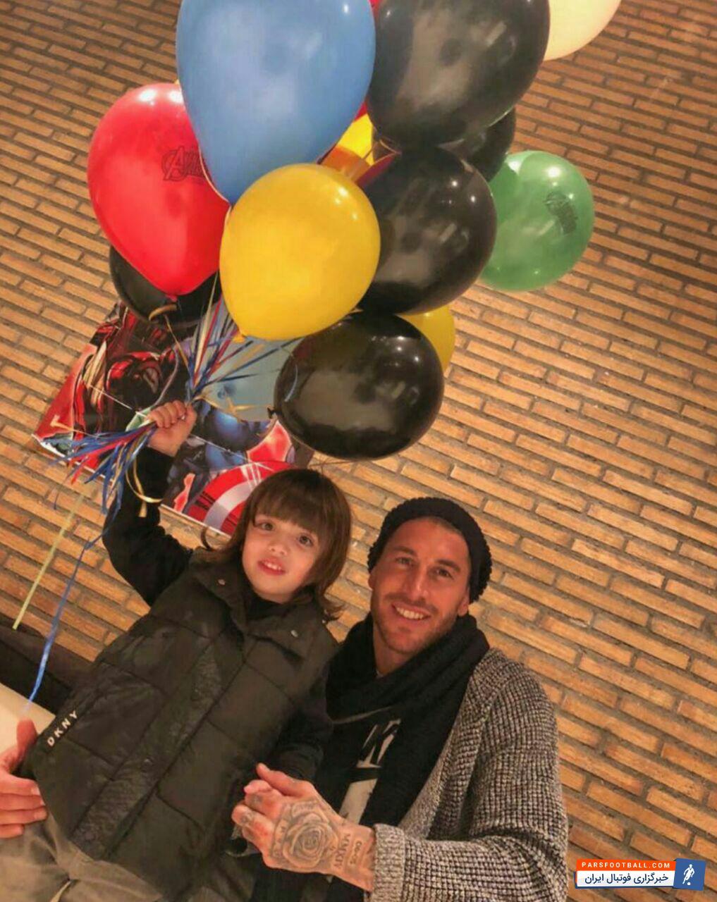 عکس ؛ خوش گذرانی کاپیتان متعصب رئال در کنار فرزندش