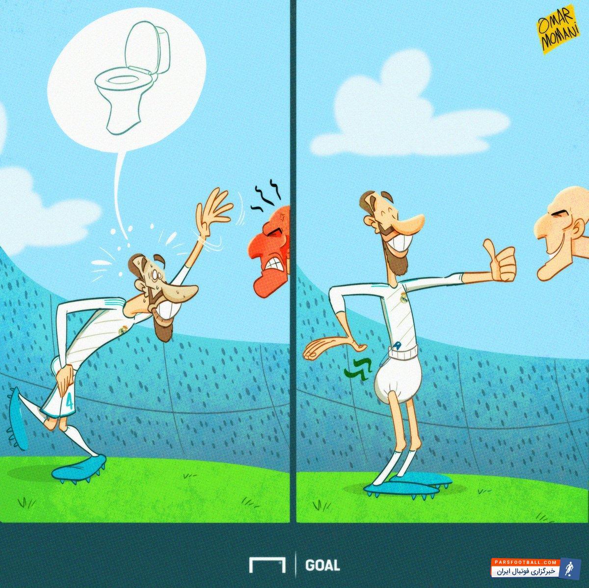 عکس ؛ کاریکاتور ؛ حرکت عجیب کاپیتان رئال مادرید سوژه شد
