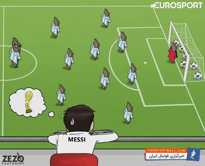 کاریکاتور ؛ وقتی تیم محبوب مسی در مقابل چشمانش شکست می خورد