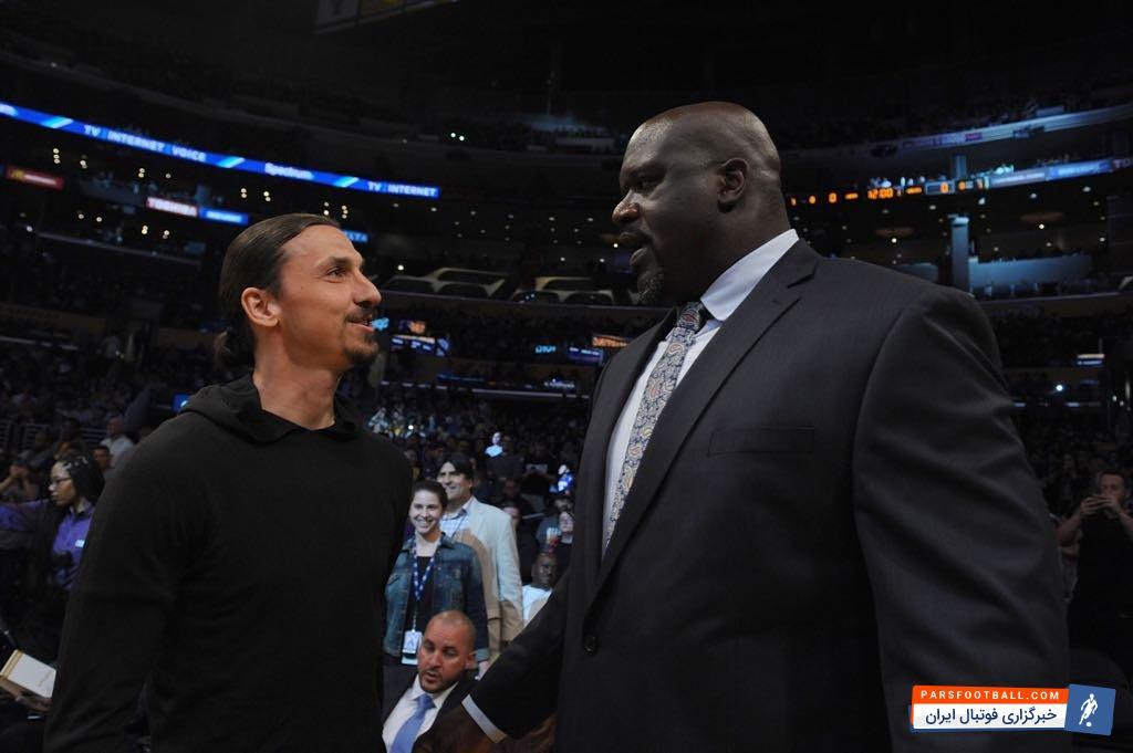 زلاتان ابراهیموویچ، ستاره فوتبال ، روز گذشته به تماشای یکی از مسابقات NBA رفت و در این دیدار، با یکی از بزرگان بسکتبال ملاقات کرد.
