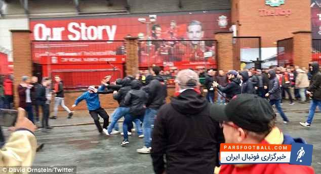 لیورپول - رم ؛ درگیری شدید بین هواداران لیورپول و رم در حاشیه دیدار دو تیم در لیگ قهرمانان