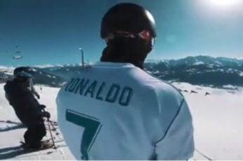 اقدام جالب آندری راگتلی دراسکی روی برف با لباس رونالدو