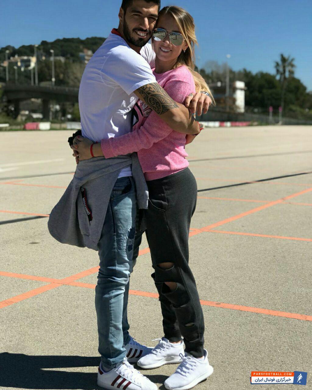 تصویری عاشقانه از لوییس سوارز و همسرش