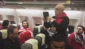جشن قهرمانی پرسپولیس در هواپیما