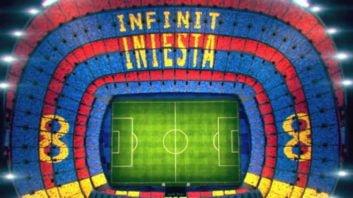طرح موزاییکی هواداران بارسلونا برای خداحافظی با اینیستا