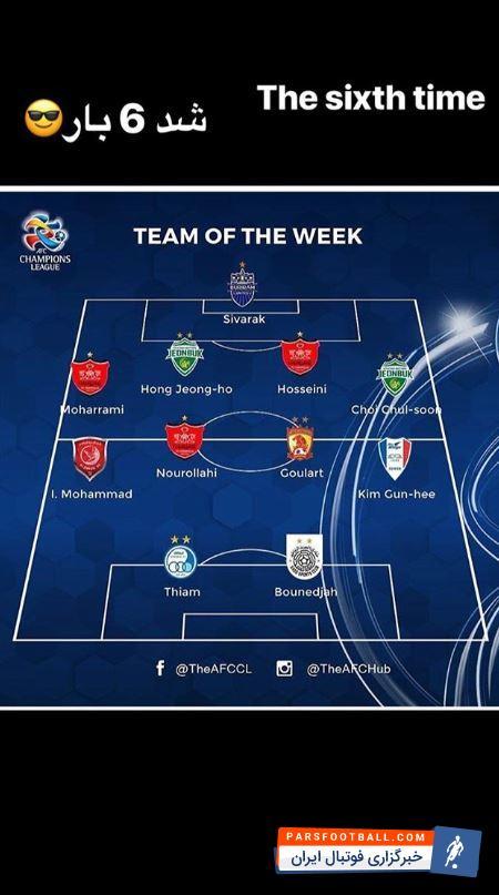 پرسپولیس ؛ صادق محرمی برای بار ششم در تیم منتخب لیگ قهرمانان آسیا انتخاب شد