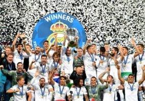 خوشحالی بازیکنان رئال مادرید در رختکن در لیگ قهرمانان اروپا