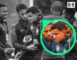 تیم ملی برزیل ؛ شوخی نیمار و دیگر بازیکنان تیم ملی برزیل با فیلیپه کوتینیو در تمرینات