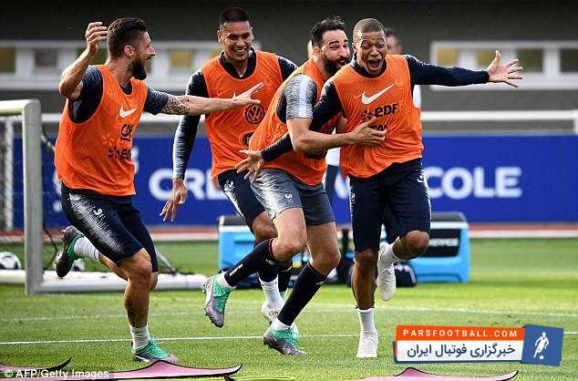 فرانسه ؛ تصاویری از تمرینات شاداب بازیکنان تیم ملی فوتبال فرانسه