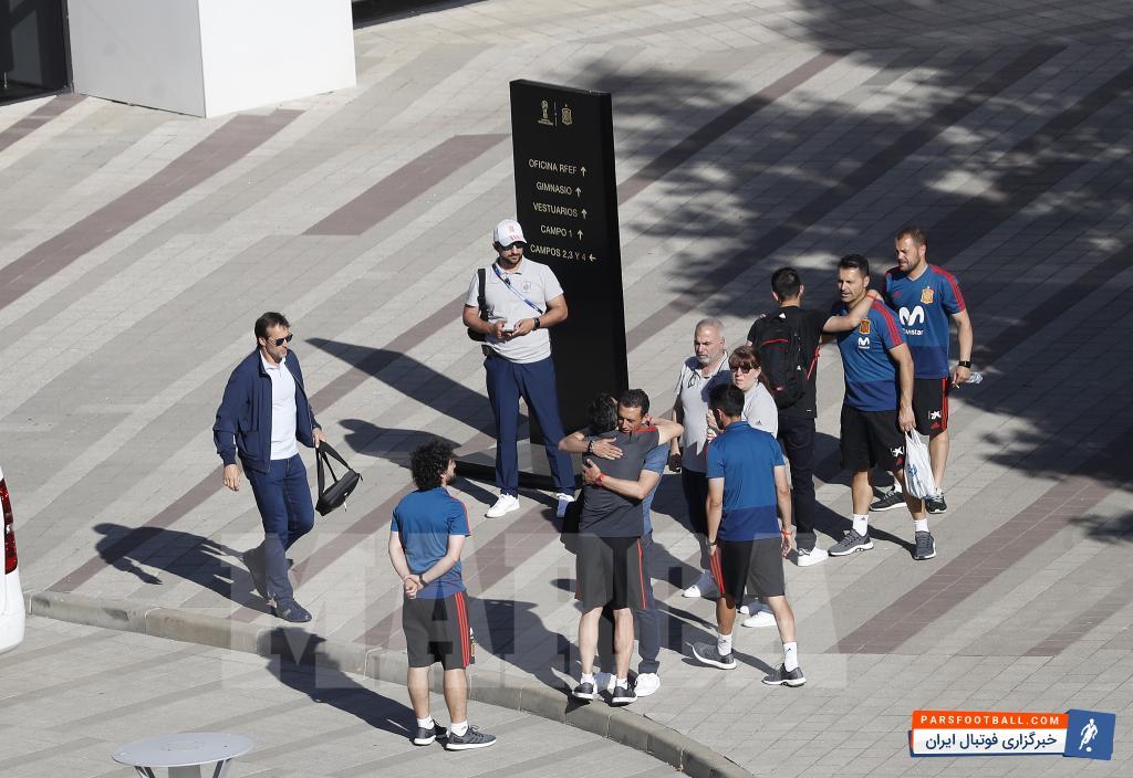لوپتگی ؛ تصاویری از خداحافظی لوپتگی با بازیکنان تیم ملی فوتبال اسپانیا