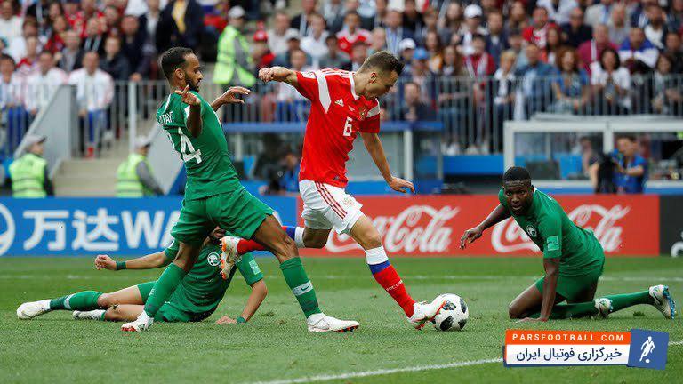 عربستان ؛ عملکرد ضعیف مدافعان تیم فوتبال عربستان در برابر روسیه
