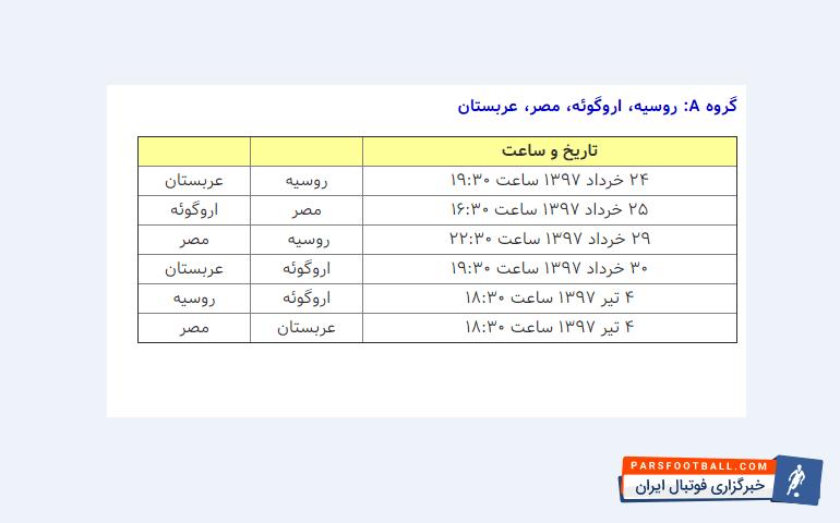 در گروه بندی جام جهانی 2018روسیه، عربستان، مصر ،اروگوئه با یکدیگر هم گروه هستند که زمان بندی آنها به این شکل است