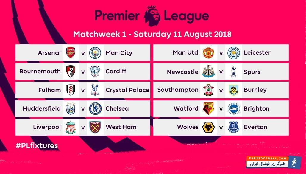 برنامه رقابتهای لیگ انگلیس در فصل 2018/19 مشخص شد در هفته اوللیگ انگلیس دیدار آرسنال و منچستر سیتی از جذابیت زیادی برخوردار خواهد بود.