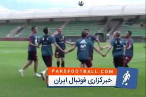 تیم ملی اسپانیا حریف ایران در جام جهانی ؛ شوخی بازیکنان اسپانیا در تمرینات این