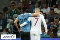 اروگوئه ؛ حرکت جوانمردانه رونالدو بعد از مصدومیت کاوانی در دیدار اروگوئه پرتغال در جام جهانی