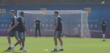 چالش شوت زنی بازیکنان بارسلونا در تمرینات