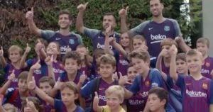ملاقات کودکان لاماسیایی و بازیکنان بارسلونا