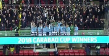 مراسم اهدای جام قهرمانی رقابت های اتحادیه انگلیس به منچسترسیتی