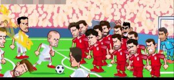 فیلم خلاصه بازی ایران و اسپانیا به روایت کارتون در جام جهانی