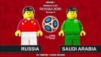 شبیه سازی بازی تیم ملی روسیه و عربستان با عروسک لگو