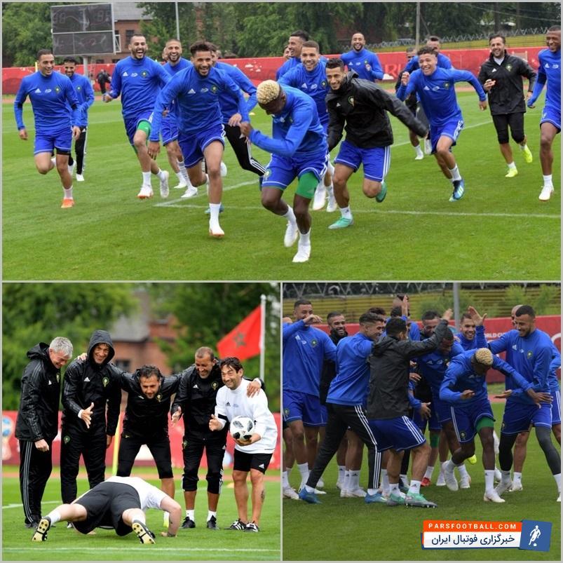 شاگردان رنار در تیم ملی مراکش آستانه دیدار با ایران در جام جهانی روسیه تمرین شادابی را پشت سر گذاشتند.