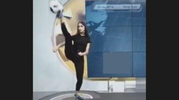 حرکت تماشایی مجری زن برنامه ورزشی روی آنتن زنده
