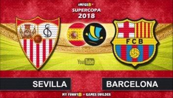 بارسلونا ؛ شبیه سازی دیدار تیم های بارسلونا و سویا در سوپرکاپ اسپانیا با لگو