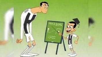 کلاس آموزش گلزنی پسر رونالدو برای پدرش