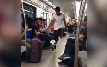 هنرنمایی قهرمان فوتبال نمایشی ایران در مترو