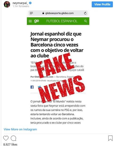 نیمار ؛ تکذیب بازگشت نیمار جونیور به باشگاه فوتبال بارسلونا از سوی پدرش