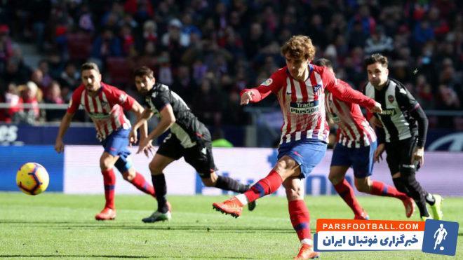 اتلتیکو توانست با پنالتی دقیقه 57 گریزمان لوانته را شکست داده و 38 امتیازی شود. گریزمان پنالتی را به گل سه امتیازی تیمش بدل کرد.