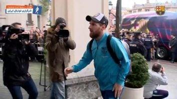 بارسلونا ؛ سفر کاروان باشگاه فوتبال بارسلونا اسپانیا به بیلبائو برای دیدار با اتلتیک