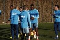 اومتیتی ؛ حضور ساموئل اومتیتی بازیکن باشگاه فوتبال بارسلونا در تمرینات گروهی