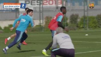 بارسلونا ؛ تمرین بازیکنان باشگاه فوتبال بارسلونا بعد از پیروزی برابر سویا