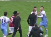 درگیری بازیکنان آث میلان و لاتزیو پس از سوت پایان بازی