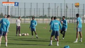 تمرین بازیکنان باشگاه فوتبال بارسلونا قبل از دیدار برابر لوانته