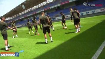 تمرین بازیکنان آرسنال قبل از فینال لیگ اروپا برابر چلسی