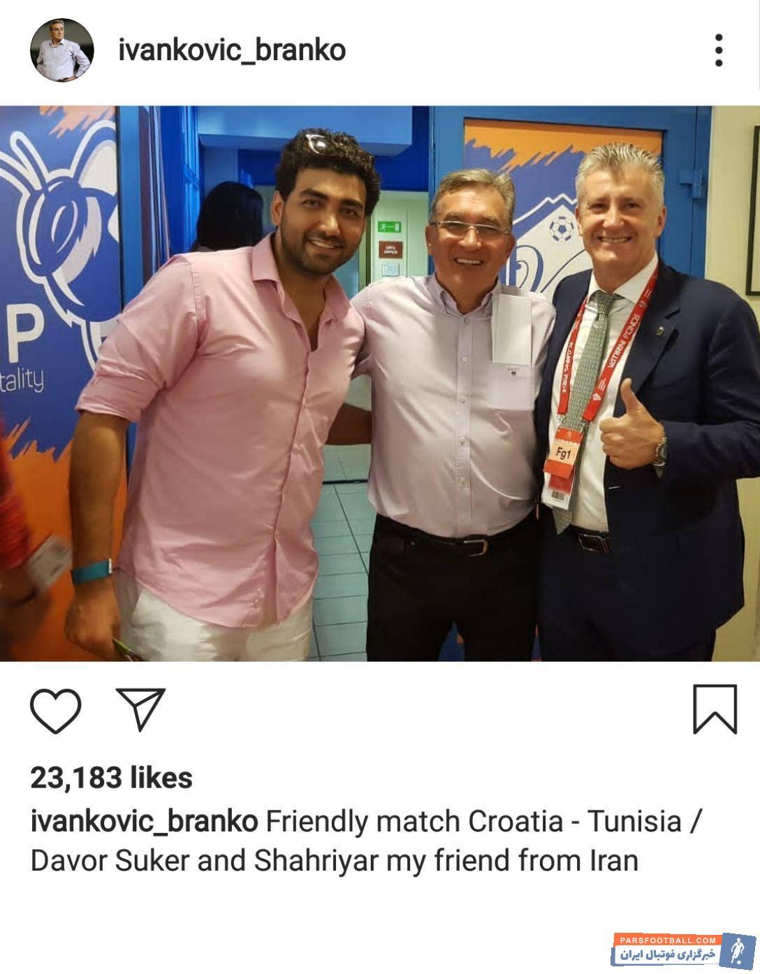 برانکو با استفاده از فرصت تعطیلات لیگ راهی کشورش شده  برانکو پیش از دیدار دوستانه تیم کشورش با تونس دیداری با رئیس فدراسیون فوتبال کرواسی داشت.