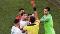 همه کارت های قرمز لیونل مسی و کریستیانو رونالدو تاکنون
