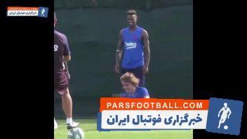 گریزمان ؛ لایی خوردن آنتوان گریزمان فرانسوی خرید جدید باشگاه بارسلونا در تمرینات