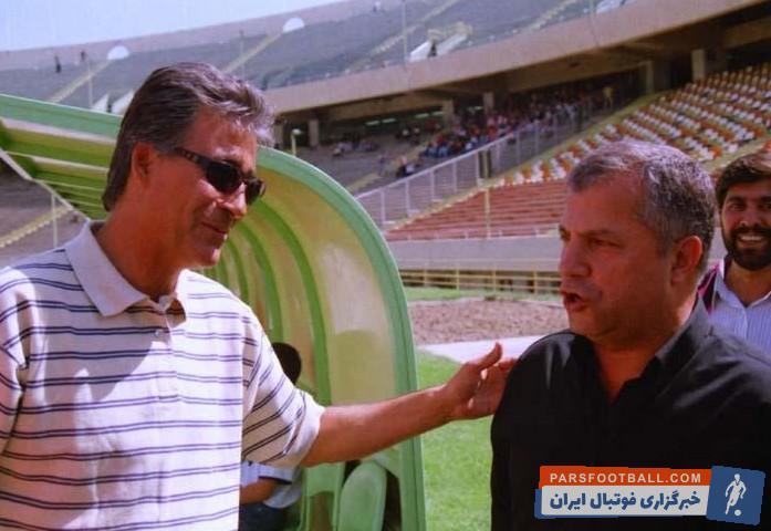 تصویری از زنده یاد ناصر حجازی در کنار علی پروین بازی های آسیایی 1353