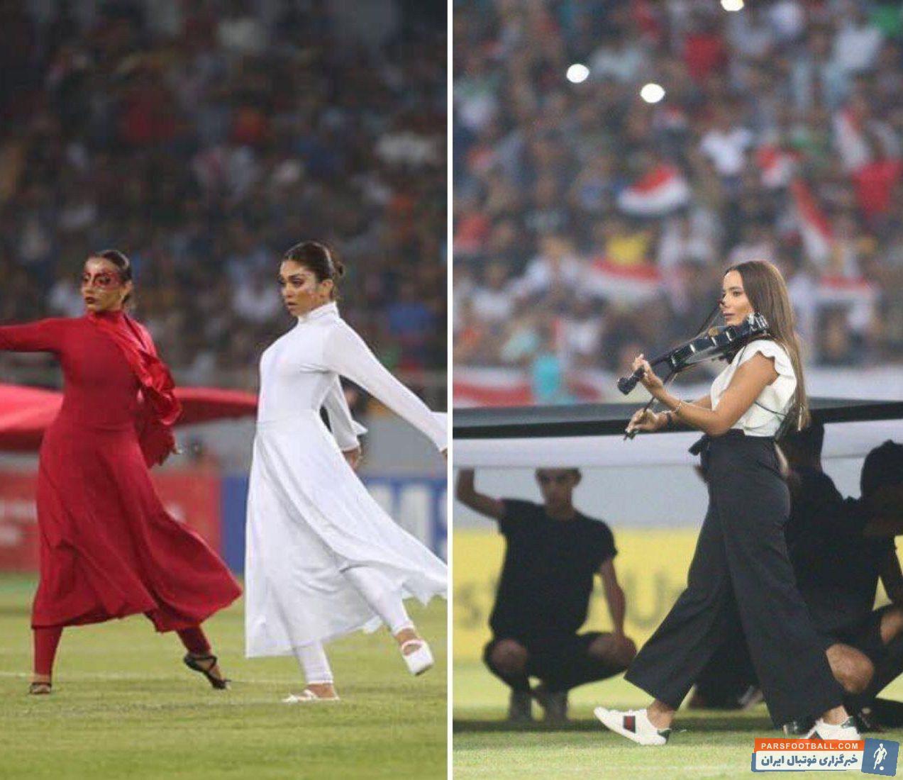 تصویری از رقص و آواز زنان عراقی در مراسم افتتاحیه مسابقات فوتبال جام باشگاههای غرب آسیا در ورزشگاه کربلا