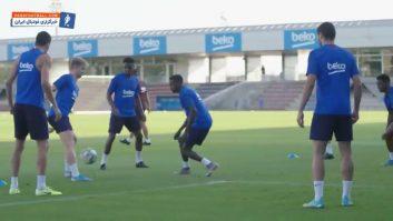 بارسلونا ؛ تمرین بازیکنان باشگاه بارسلونا قبل از دیدار برابر رئال بتیس